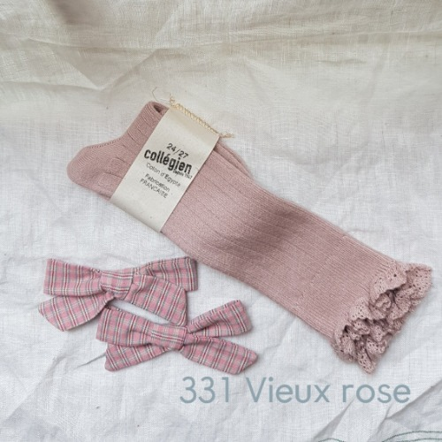 [ 꼴레지앙]  Josephine  High lace kneesocks  no. 331 Vieux rose