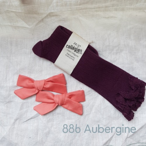 [ 꼴레지앙] Josephine  High lace kneesocks  no. 886  Aubergine